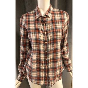 J Crew Red Blue Plaid Flannel Button Down Shirt